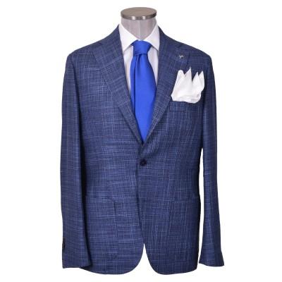 Giacca fresco lana sfoderata rever 10 cm blu P10
