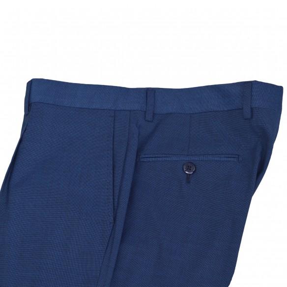 Pantalone in lana ed elastan microtramatura bluette Chi