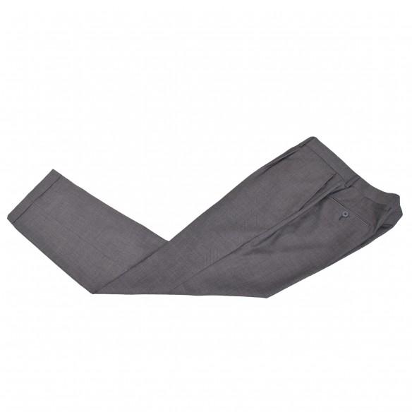 Pantalone in lana ed elastan microtramatura grigio Chi