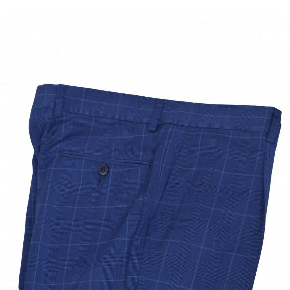 Pantalone fresco lana Galles coperto bluette Snoopy