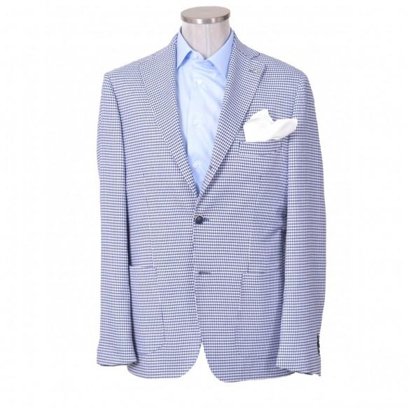 Giacca in lana e cotone disegno bianco e blu Leola