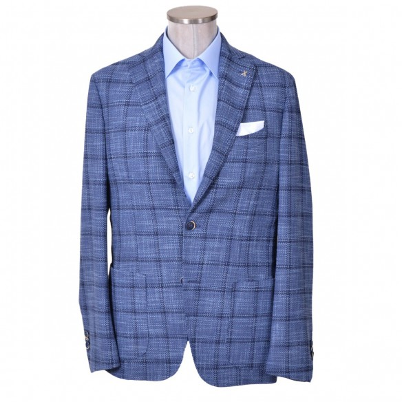 Giacca in lana e cotone a quadri blu Gill