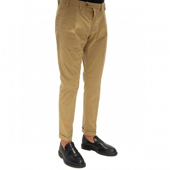 Pantalone in cotone ed elastan colore coloniale CF