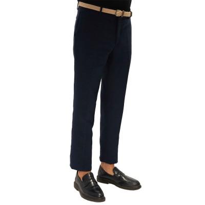 Pantalone in lino e cotone blu Silu