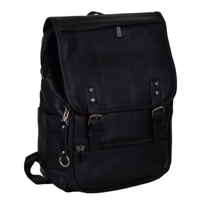 Zaino 100% pelle nera ecologica con Borchie Presa USB Tasca porta PC