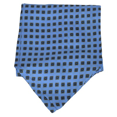 Cravatta Ascot Azzurra Fantasia a quadri Blu