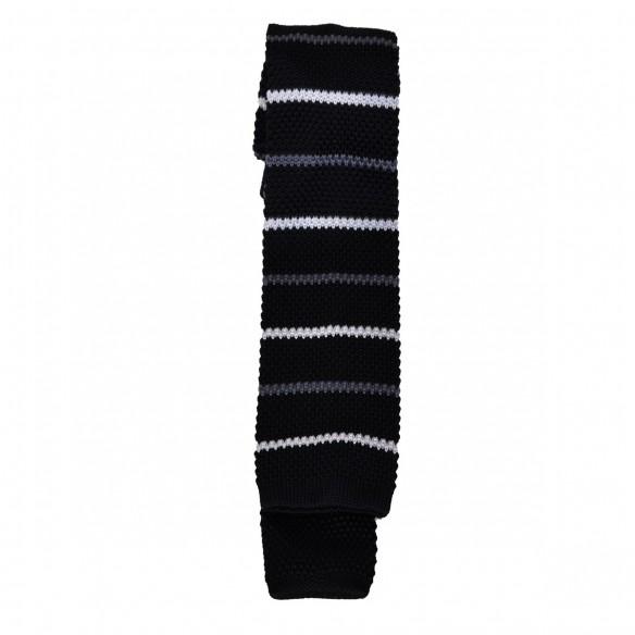 Cravatta in lana e seta barre nero