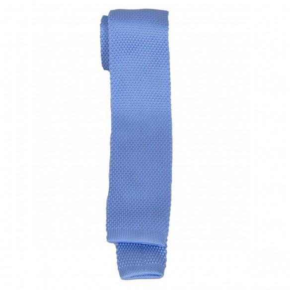Cravatta in lana e seta fondo azzurro