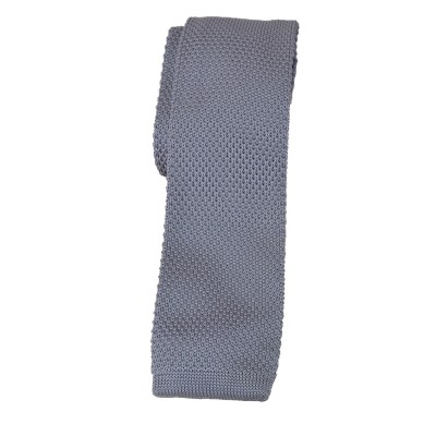 Cravatta in lana e seta grigio perla