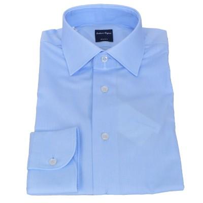 Camicia in cotone e elastan azzurro 5057
