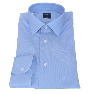 Camicia in cotone millerighe strette azzurra 5063